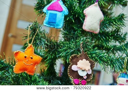 hand made soft toys from felt for Christmas tree decoration