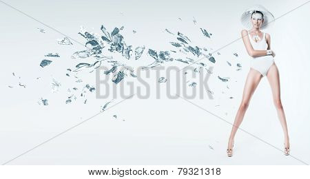 Sexy Woman In White Hat With Broken Glass