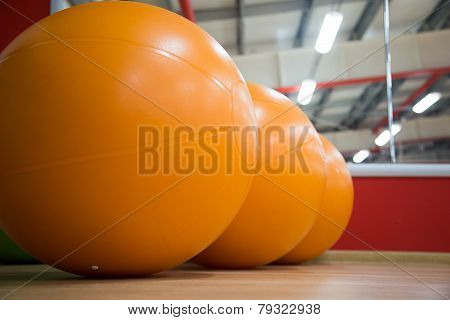 Row Of Fitballs In Gym