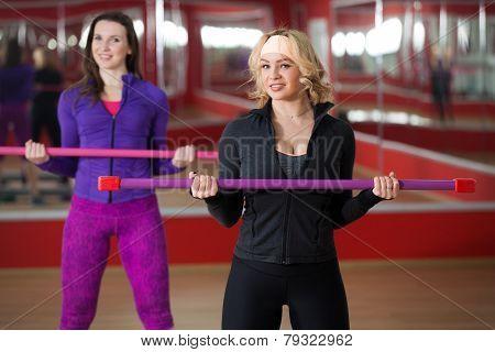 Training In Gym With Body Bar