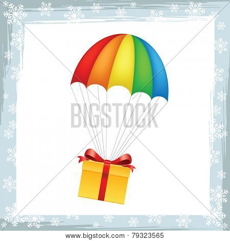 Gift on parachute icon