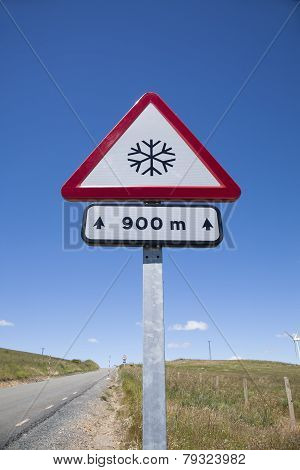 Snow Dangerous Road Signal