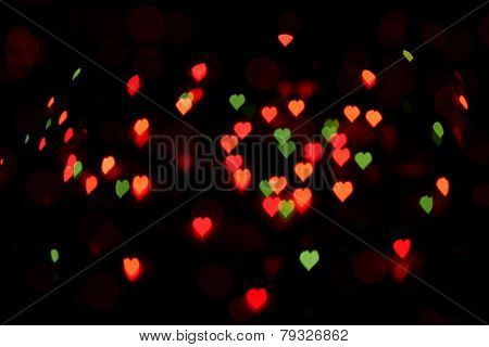 Bokeh Of Colorful Hearts
