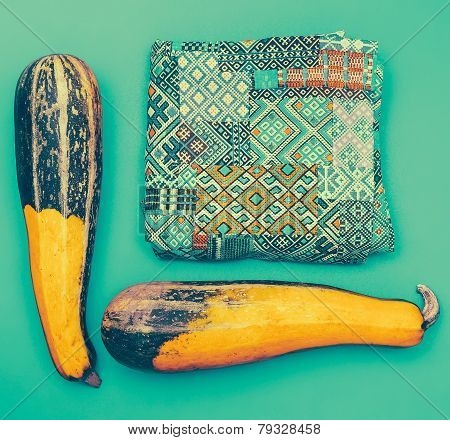 Set In Oriental Style. Ornament And Zucchini On Blue Background