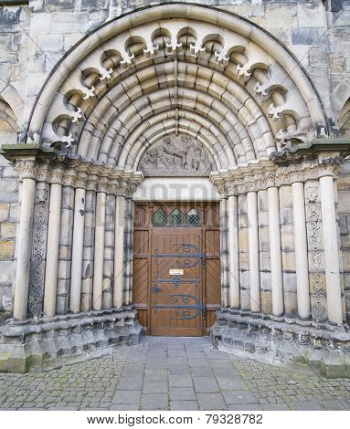 The Historic Door In Hameln City, Germany