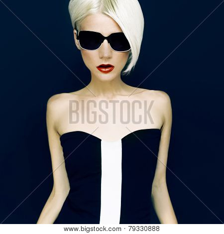 Glamorous Blonde On Black Background  Fashion Style
