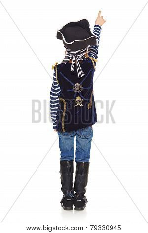 Back view of boy pirate pointing up