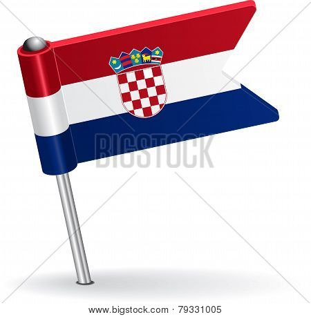 Croatian pin icon flag. Vector illustration