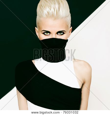Black And White Background Girl Ninja Style. Fashionable Hairstyle
