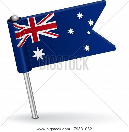 Australian pin icon flag. Vector illustration