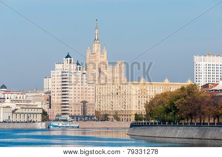 Moscow River embankment. White House. Moscow, Russian Federation