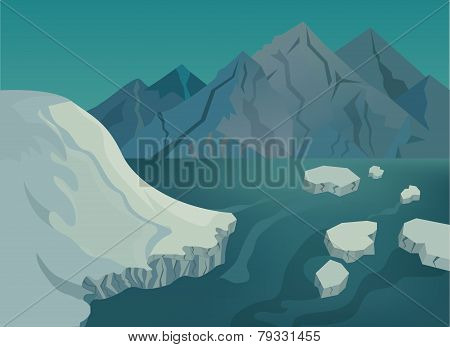 Landscape with snow-capped mountains, blue lake and ice floes