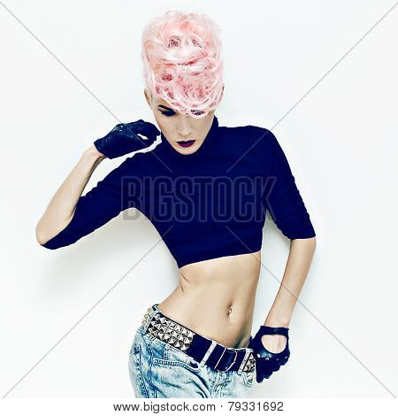 Slim Model Girl With Stylish Haircut. Punk Style