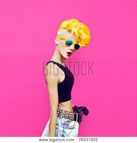 Glamorous Blonde Disco Punk Style Fashion Diet