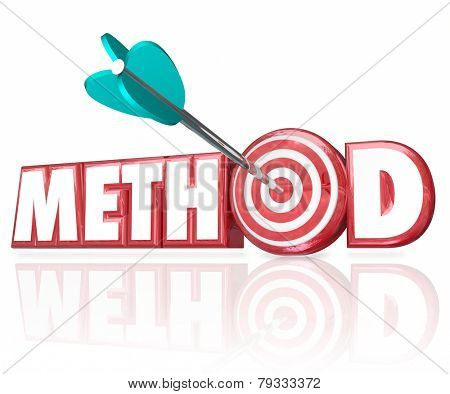 Method 3d word in red letters and an arrow hitting a target bulls-eye to illustrate the right process, procedure or system to complete a job or task