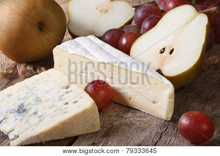 Molded Cheese, Red Grapes And Pears Horizontal