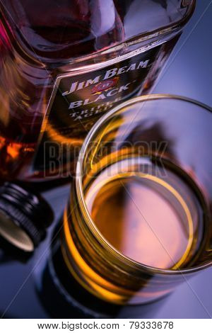 BERLIN, GERMANY - JULI 15, 2014: Jim Beam is brand of bourbon whiskey produced in Clermont, Kentucky. It was one of the best selling brands of bourbon in the world. Since 1795