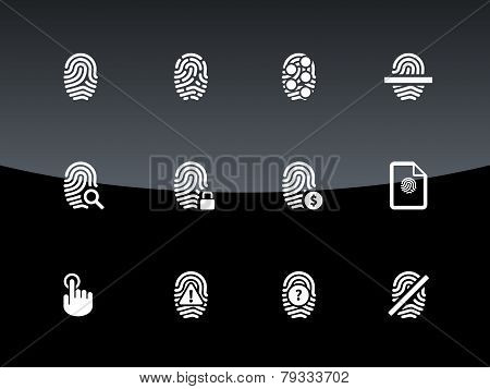 Finger scanner icons on black background.