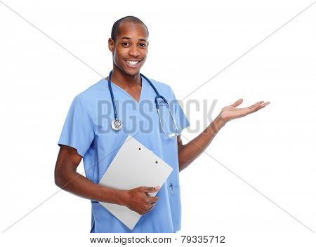 African-American Doctor Man presenting copy space isolated