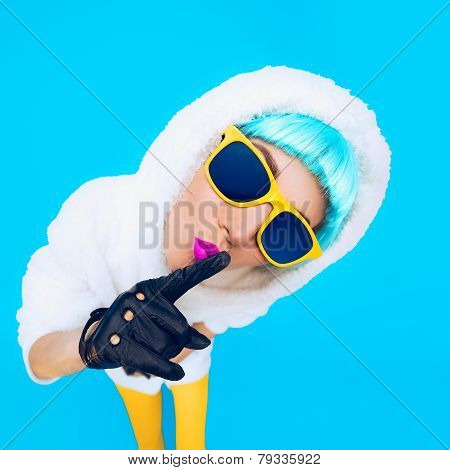Guess Fashion Girl In A White Hoodie On A Blue Background. Winter Hipster Style