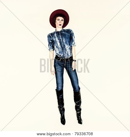 Glamorous Fashion Lady. Denim Style Trend