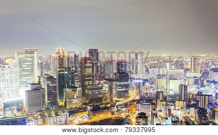 Skyline In Osaka, Japan At Night