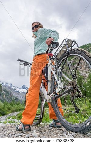 Cyclist Enjoying A Mountain View