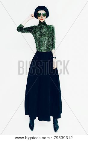 Glamorous Lady In Fashionable Blouse With Snake Print On White Background