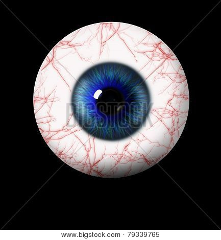 3D Blue Eye On Black Background