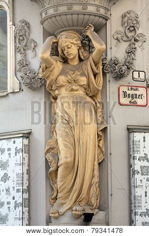 VIENNA, AUSTRIA - OCTOBER 10: Detail at Jugendstil house in the Graben street in the center of Vienna, Austria on October 10, 2014.