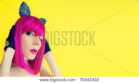 Pussycat Lady In Bright Wig On Yellow Background Glamorous Party Style