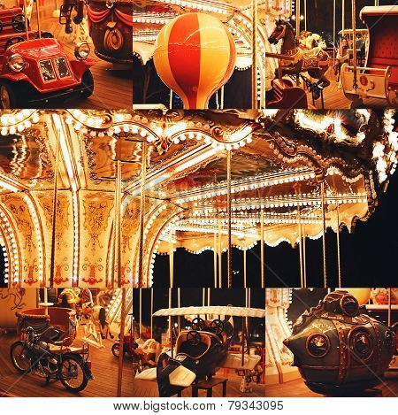 Collage Of Beautiful Illuminated Carousel