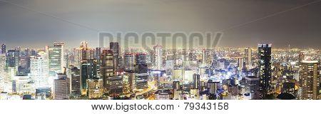 Panoramic View Of Skyline In Osaka, Japan