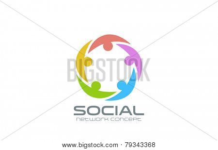 Social Network Logo design vector template. Team circle icon. Teamwork community friendship logotype creative idea.