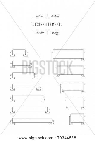 Vector set - design elements. Ribbons. Thin line (variable line width)