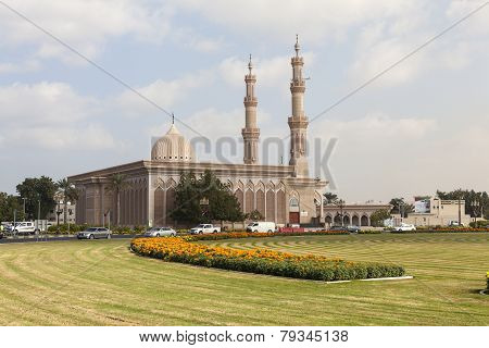 SHARJAH, UAE - DECEMBER 23, 2014: Photo of Mosque Al Emam Ahmad Bin Hanbal.