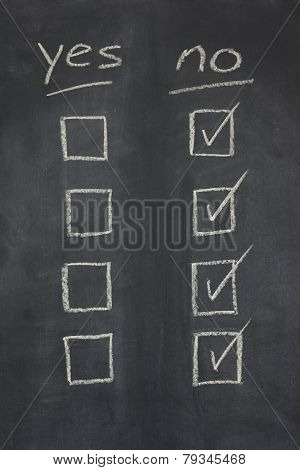 Blackboard With Yes No Check Boxes