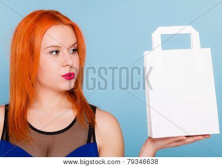 Woman Holding Paper Shopping Bag With Copy Space.