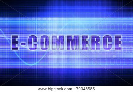 E-Commerce or Ecommerce on a Tech Business Chart Art
