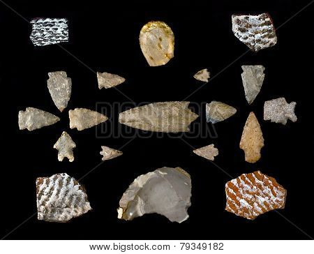Texas Arrowheads And Pottery Sherds.