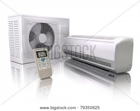 Air conditioner system isolated on white. 3d