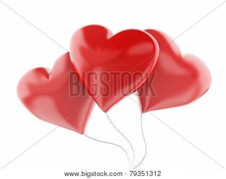 3D Red Heart Balloons, Valentine's Day Concept  Isolated On White Background