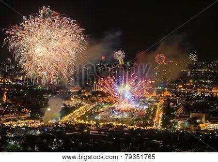 Firework On Wat Phra Kaeo (thai Royal Palace) Between King Birthday Celebration.