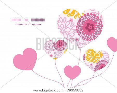 Vector pink field flowers heart symbol frame pattern invitation greeting card template