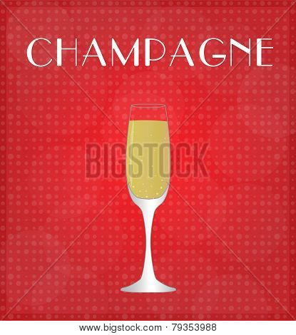 Drinks List Champagne With Red Background