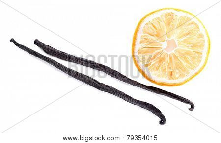Dried lemon with vanilla beans isolated on white