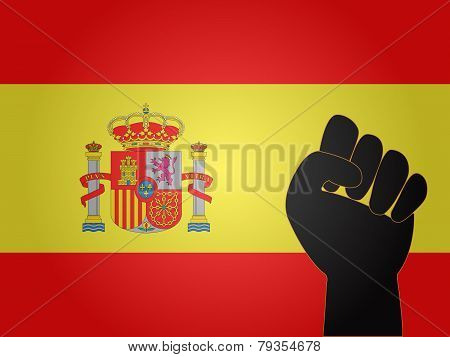 Spanish Flag With Protest Sign
