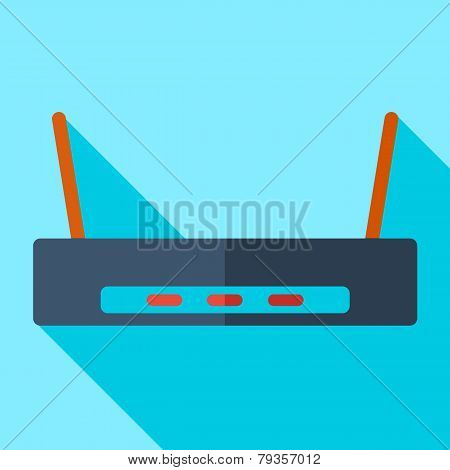 Modern flat design concept icon Wi-Fi router Wireless. Vector il