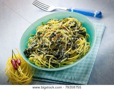 tagliolini with turnip top and hot chili pepper