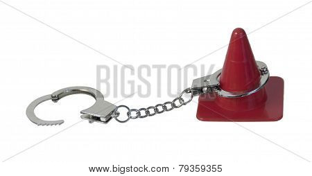 Traffic Cone And Handcuffs